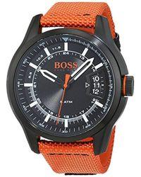 BOSS - 'hong Kong Sport' Quartz Resin And Nylon Casual Watch, Color Orange (model: 1550001) - Lyst
