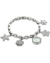 Anne Klein - Swarovski Crystal Accented Silver-tone Charm Bracelet Watch - Lyst