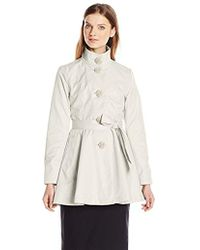 Betsey Johnson - Skirted Trench Coat With Rose Buttons - Lyst