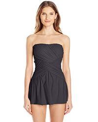 Gottex - Solid Draped Panel Bandeau Swimdress One Piece Swimsuit - Lyst