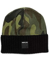 Replay - Am4162.000.a7005 Beanie, Multicoloured (black-pino-mil Green-oil Gr 1163), One Size - Lyst
