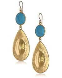 Devon Leigh - Turquoise And Yellow Gold-plated Teardrop Earrings - Lyst
