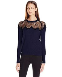 Buffalo David Bitton - Belacey Pullover Angora Blend Sweater With Lace - Lyst