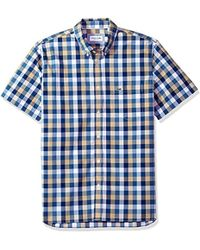 Lacoste - Short Sleeve Poplin Check Button Down Collar Reg Fit Woven Shirt, Ch5805, Krema, Large - Lyst