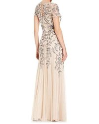 7d52296c2e125 Adrianna Papell - Plus-size Floral Beaded Gown With Godets - Lyst