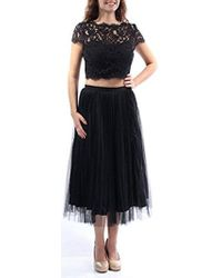 Adrianna Papell - Cap Sleeve Crop Top With Fit And Flare Skirt - Lyst