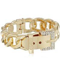 Guess - S Buckle Hinge Frozen Chain Bracelet W/ Pave Accent - Lyst