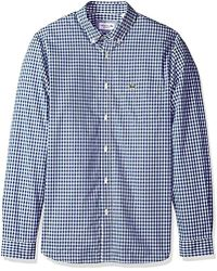 Lacoste - Long Sleeve With Pocket Gingham Poplin Regular Fit Woven Shirt, Ch9559 - Lyst