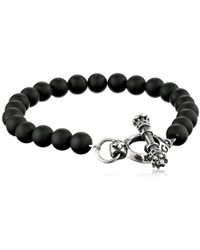 King Baby Studio - Silver Clasp With Black Onyx Bead Bracelet - Lyst
