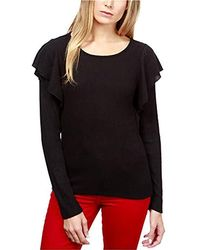 5a7a592661 Lyst - Lucky Brand Velvet-trim Contrast Top in Black