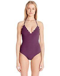 ba67dd445bb Jessica Simpson - Under The Sea Scalloped Edge Halter One-piece Swimsuit -  Lyst