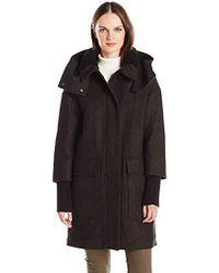 SOIA & KYO - Kerriane Diagonal Wool Coat With Hood - Lyst