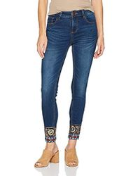 Desigual - Exotic Papping Woman Denim Ankle Trouser - Lyst
