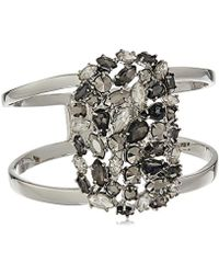 """Kenneth Cole - """"stone Cluster Metallic"""" Mixed Metallic Faceted Stone Hinged Bangle Bracelet - Lyst"""
