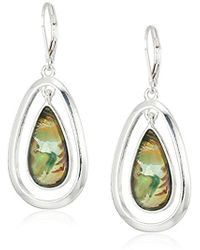 Anne Klein - Silver Tone And Blue Stone Orbital Drop Leverback Drop Earrings - Lyst