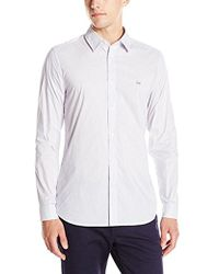 Lacoste - City Long Sleeve Stretch Stripe Poplin - Lyst