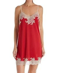Natori - Enchant Solid Slinky Chemise With Lace - Lyst