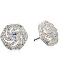 Napier - Silver-tone And Cubic Zirconia Swirl Stud Earrings - Lyst