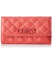 Guess Elliana Slg Pocket Trifold Wallet in Pink - Lyst 194d27f49f