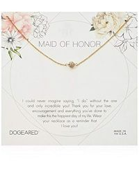 "Dogeared - Maid Of Honor Flower Card Pave Sparkle Chain Necklace, Sterling Silver, 16"" + 2"" Extension - Lyst"