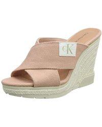 Calvin Klein - ''s Layla Canvas Open Toe Heels - Lyst