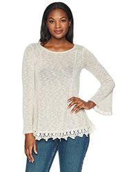 Wrangler - Long Sleeve Lace Trim Knit Sweater - Lyst