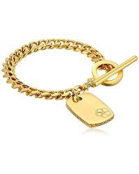 "Trina Turk - Basics Dogtag Gold Charm Bracelet, 7"" - Lyst"