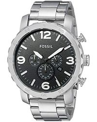 Fossil - Nate Quartz Stainless Steel Chronograph Watch, Color: Silver-tone (model: Jr1353) - Lyst