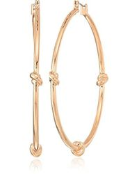 Kenneth Cole - S Rose Gold Large Knot Hoop Earrings, One Size - Lyst