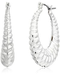 Napier - Silver-tone Textured Clickit Hoop Earrings - Lyst