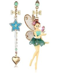 "Betsey Johnson - ""fairyland"" Fairy Mismatch Drop Earrings - Lyst"
