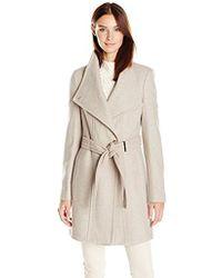 Calvin Klein - Wool Wrap Coat With Detachable Belt - Lyst