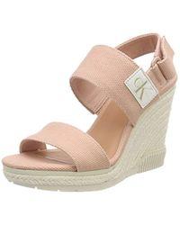 Calvin Klein - Lacey Canvas Ankle Strap Heels - Lyst