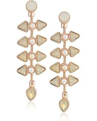Guess - S Clustered Stone And Pearl Drop Earrings - Lyst