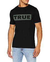 True Religion - Crew Shirt Block True T Uomo, Nero (Black 1001) XXL - Lyst