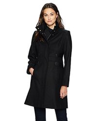 Via Spiga - Mid-length Stand Collar Wool Coat With Waist Slimming Detail - Lyst
