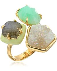 Alexis Bittar - Triple Stone Ring With Enamel Detail, 10k Gold, Size 7 - Lyst