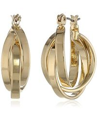 Kenneth Cole - Gold Twisted Hoop Earrings - Lyst