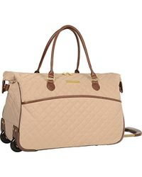 """Anne Klein - 20"""" Wheeled Duffle Duffel Bag, Tan Quilted, One Size - Lyst"""