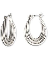 Nine West - Petite Twisted Hoop Earrings - Lyst