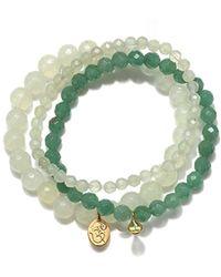 Satya Jewelry - S New Jade Gold Om Stretch Bracelet Set, Green, One Size - Lyst