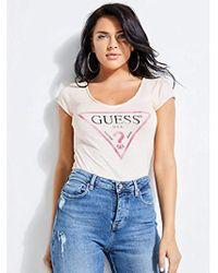 Guess - Short Sleeve Logo Vneck T-shirt - Lyst