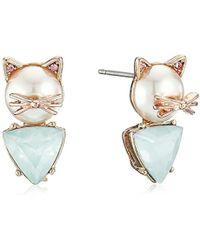 Betsey Johnson - S Pearl Critters Cat Stud Earrings - Lyst