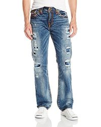 True Religion - Ricky Relaxed Straight Leg Rip And Repair Super T Jean - Lyst
