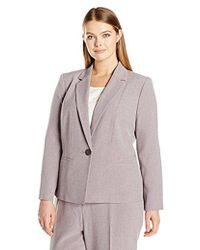 Kasper - Plus Size 1 Button Twill Notch Collar Jacket - Lyst