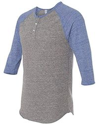 Alternative Apparel - Raglan 3/4 Sleeve Henley Shirt - Lyst