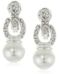Anne Klein - Pearl And Drop Clip-on Earrings - Lyst