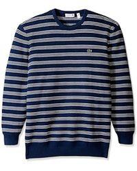 Lacoste - Waffle Stitch Stripe Cotton Sweater - Lyst
