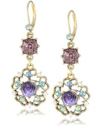 Betsey Johnson - Carved Flower Medallion And Crystal Gem Drop Earrings - Lyst
