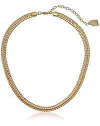 """Anne Klein - """"classics"""" Gold-tone Flat Chain Necklace, 17"""" + 3"""" Extender - Lyst"""